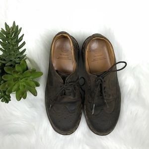 DR MARTENS Wingtip Brogue Oxfords Brown Leather